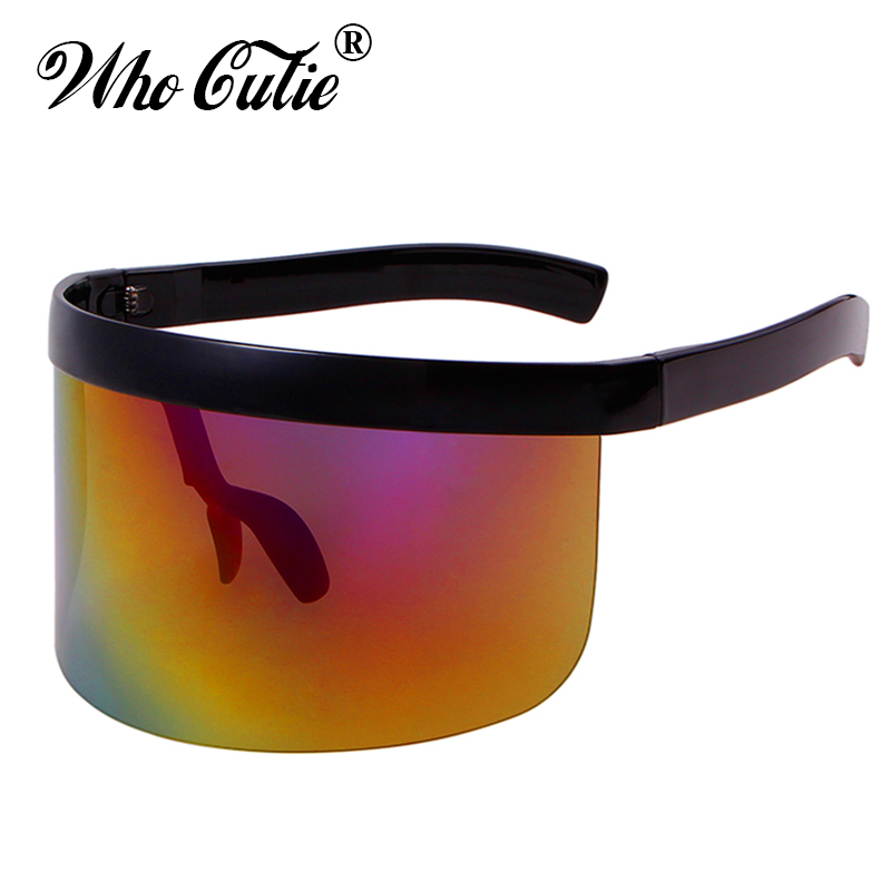 WHO CUTIE 2018 Oversize Shield Visor Mask Sunglasses Men Women One Peice Windproof Glasses Flat Top Hood Eyeglasses Goggles 628