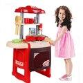 Nueva llegada niños kitchen toys utensilios de cocina luces música multifuncional combinación vajilla familia chica boys toys a3