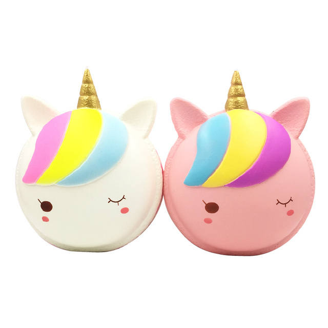 Factory Sales PU Jumbo Rainbow Squishies Slow Rising Scented Unicorn Macaron Squeeze Fun ToyStress Relief Toy