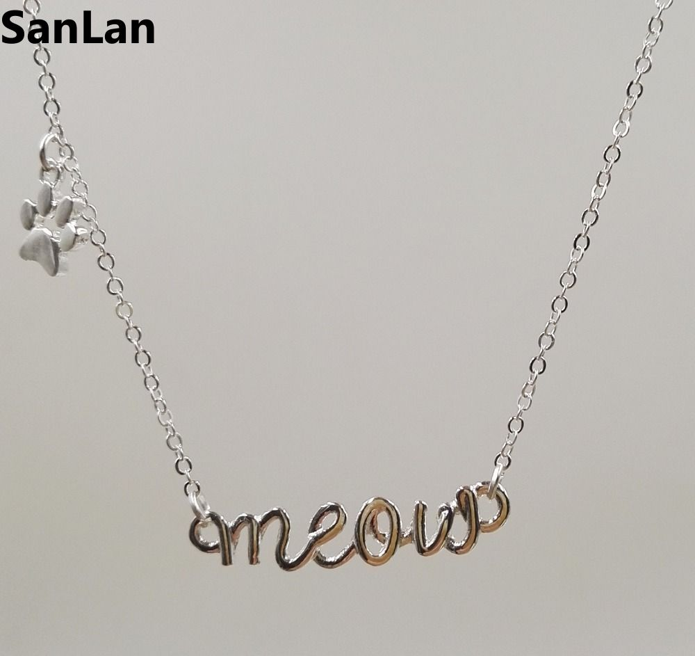 Lovely Fashion cat pets Jewelry Dog Paw Print and cat meow charm necklace Women Best Friend Gift for cat lovers SanLan