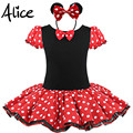 2016 Regalo de Los Cabritos Minnie Mouse Fiesta de Disfraces de Fantasía Cosplay Girls Ballet Tutu Dress + Ear Diadema Niñas Polka Dot Dress ropa Arco