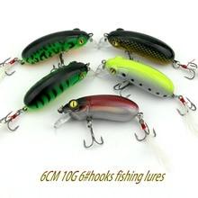 50pcs 10g 6cm 6# fishing hooks cranbaits ABS  hard plastic fishing lures wobble pike bass isca pesca minnow fishing tackles