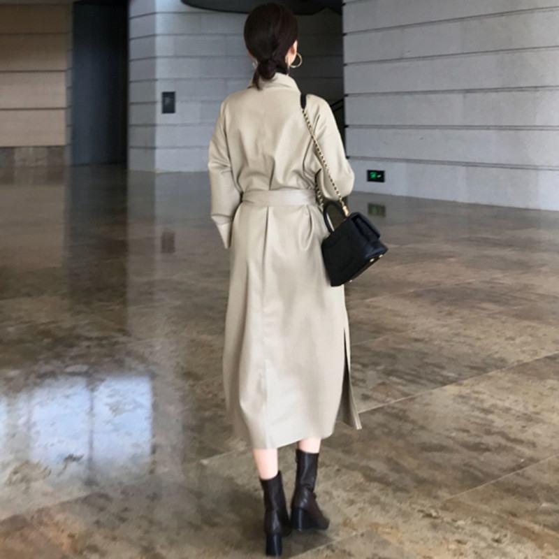 Élégant black Vintage Dames Printemps vent Manteau Automne Slim Femelle De Pu Outwear En 2019 Cuir V961 Femmes Coupe Mouton White Peau Faux Long gax4q5t