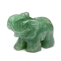 Ddh001444 Natural Tumbled Green Aventurine Carved Elephant Crystal Healing