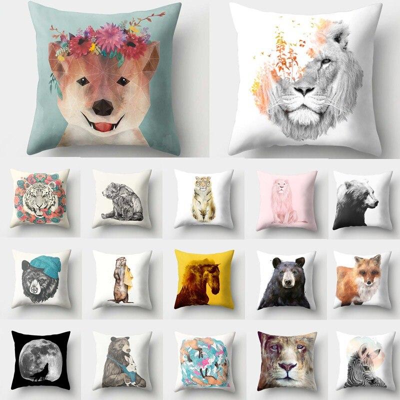 1Pcs Animal Tiger Bear Pattern Polyester Throw Pillow Cushion Cover Car Home Decor Decoration Sofa Decorative Pillowcase 40513