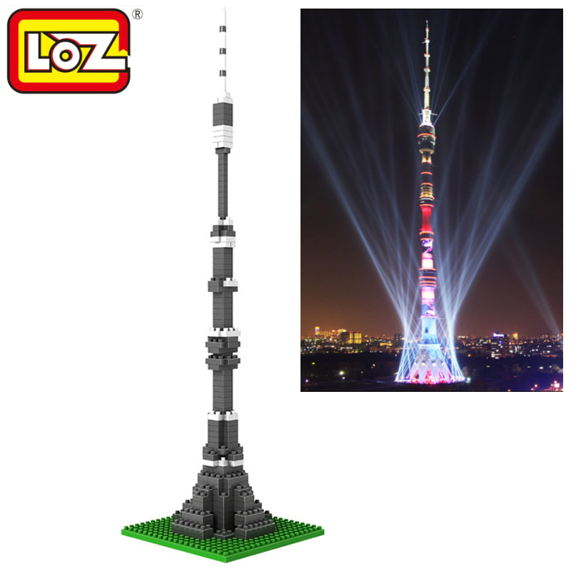 US $6 99 |Loz Diamond Blocks World Famous Architecture Moscow Ostankino  Tower Television Tall Skyscraper Mini 3D Model Building Blocks Toy-in  Blocks