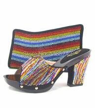 Artikel-nr. MD015-362 SCHWARZ Heißer verkauf passenden taschen und schuhe für frauen, ZX010 Italien passenden schuhe und tasche set mit shinning stein