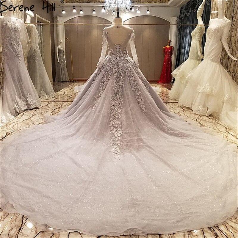 Vestido De Noiva Long Sleeve Wedding Dress Grey Appliques Pearls ...