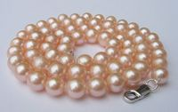 fast natural big size 10 11mm pink AAA pearl necklace 925s clasp jewelry NEW