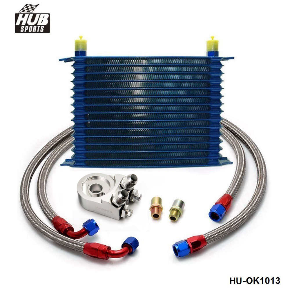 15 ROW AN-10AN UNIVERSAL ENGINE OIL COOLER KIT + ALUMINUM HOSE END KIT HU-OK1013 universal 28 row jdm engine oil cooler kit sandwich plate fit for ls1 ls2 ls3