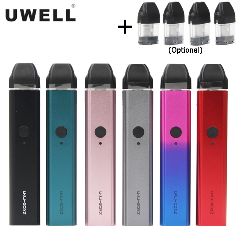 Original UWELL Caliburn Pod System Kit 520mAh Battery 11W Vaporizer 2ml Cartridge Top-Fill Electronic Cigarette Vape Pen Vaper