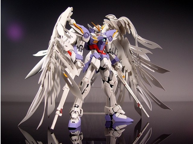New MG Wing Gundam Action Figure MG028 Zero Wing Fighter Anime Robot 1:100 Model +Angel Wing