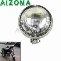 Universal Bates Style 5.75 High/Low Lamp Chrome Streetfighters Round Headlight For Suzuki Harley Chopper Custom Motorcycle