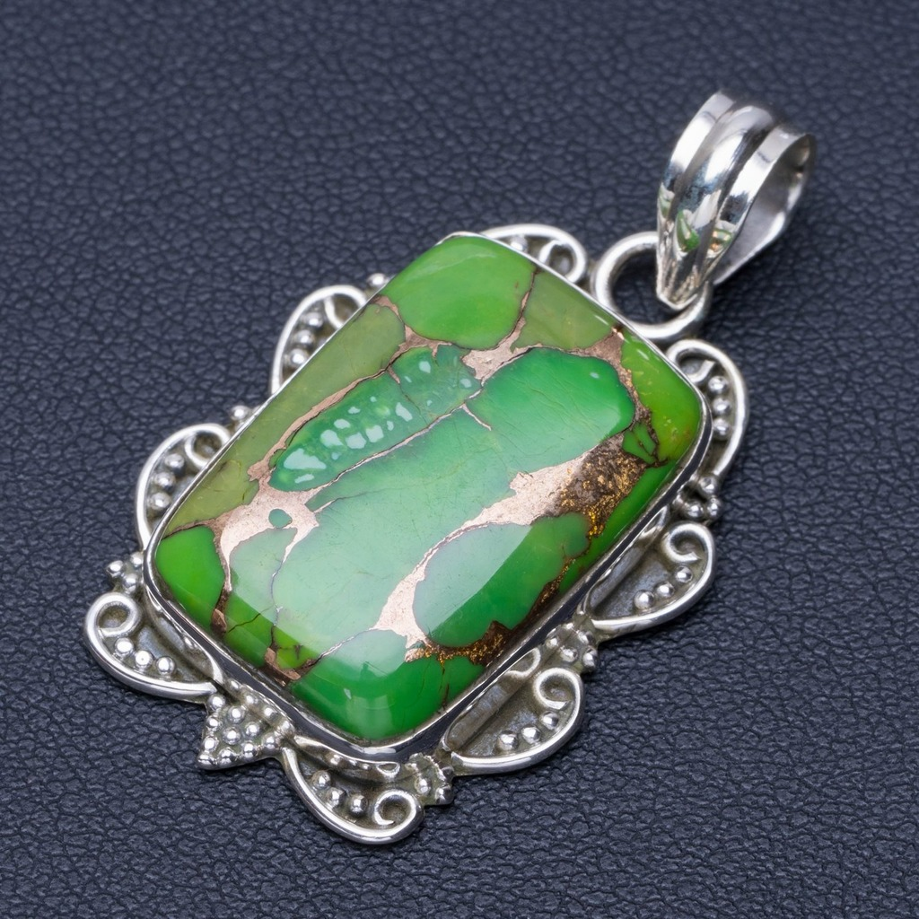 Natural  Turquoise Punk Style 925 Sterling Silver Pendant 1 1/2 Q0215Natural  Turquoise Punk Style 925 Sterling Silver Pendant 1 1/2 Q0215