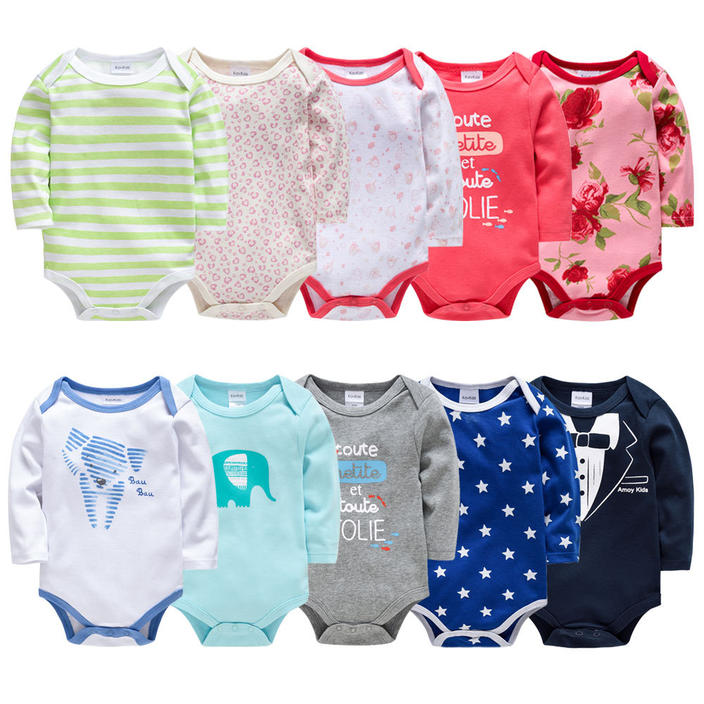 Baby Clothes New Born Onesie Long Sleeve 5pcs/Lot Infant Boy Girl   Rompers   Baby Costume Suit Cloing Disfraz Bebes