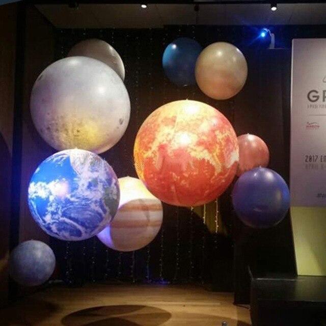 LED lighting inflatable planet balloons earth moon Jupiter Saturn Uranus Neptune Mercury Venus for party decoration
