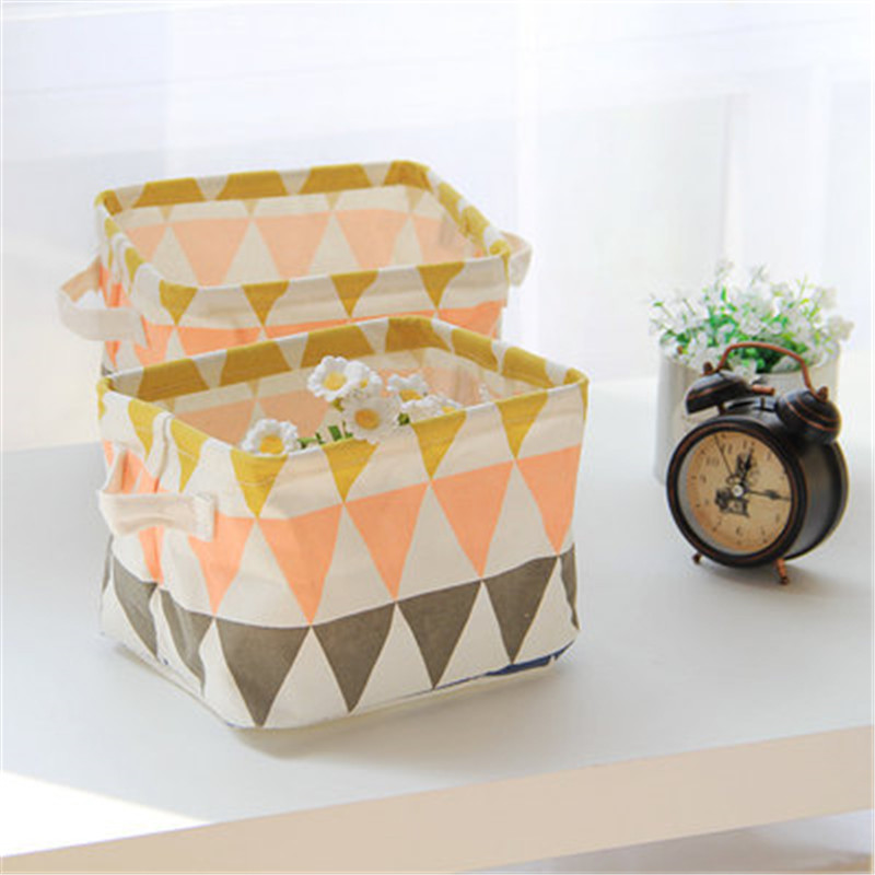 Nordic Style Linen Office Desktop Storage Basket Dirty Clothes Storage Bag Geometry Sundries Toy Makeup Organizer Storage Basket