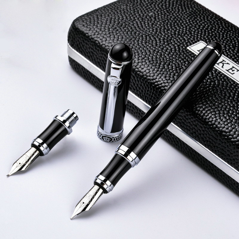 Germany Duke - D2 D2 Black Silver Clip Iridium Fountain Pen Calligraphy Business Office Gift Bend Nib Double Nib  Pimio