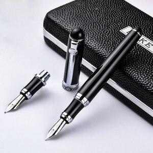 Германия duke - d2 d2 черная серебряная клипса, иридиевая перьевая ручка каллиграфия, деловая, офисная, Подарочный изгиб, двойной наконечник pimio