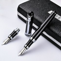 Германия duke-d2 d2 черный серебряный зажим иридиевая авторучка для каллиграфического Бизнес офиса подарок изгиб перо двойной наконечник pimio