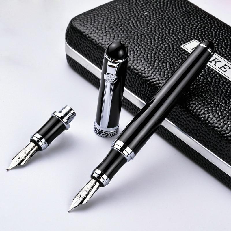 Germany Duke - D2 D2 Black Silver Clip Iridium Fountain Pen Calligraphy Business Office Gift Bend Nib Double Nib  Pimio