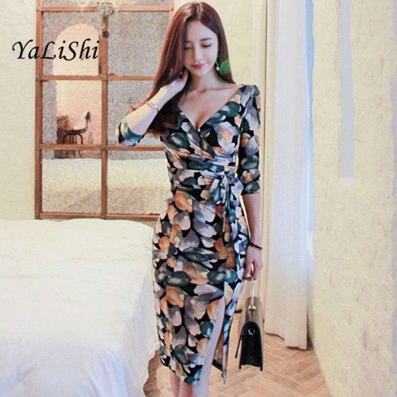 YaLiShi 2019 Autumn Women Dress Print V-Neck 3/4 Sleeve Bandage Beach Dress Vintage Sexy Split Midi Dresses Vestidos De Festa