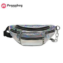 Unisex Shining Chain Crossbody Laser Chest Pack Waist Bag Fashion Designer Handbag Hip Bag Satchel Shoulder Bag for Women/Men