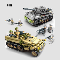 Military figures Empires of Steel 8in2 building block Armored Vehicle tank batisbricks ww2 army minifigs bricks toys for boys