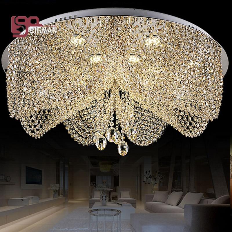 Modern Crystal Chandelier Lighting Cristal Planfon Flush Mount Living Room  Chandelier LED Crystal Light Fixtures