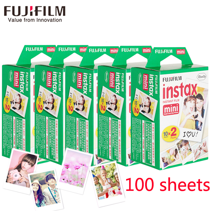New 100 sheets Fujifilm instax mini 8 film white Edge 3 Inch wide film for Instant Camera mini 8 7s 25 50s 90 Photo paper