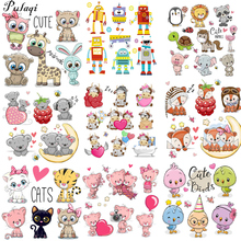 Pulaqi The New Listing Cartoon Set Animal Thermal Transfer Iron Patches For T - Shirt Clothing Kids Woman Appliqued Cat Diy H