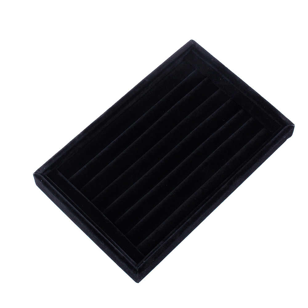 Veludo Camurça Anel Brincos Organizador Placa de Forma de Orelha Studs Jóias Display Stand Holder Rack de Vitrine caixa de Jóias Caixa de Caixão