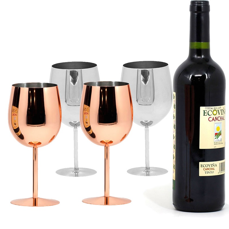 Silver Gold Wine Glasses Copper Set of 2 Shatterproof Stainless Steel