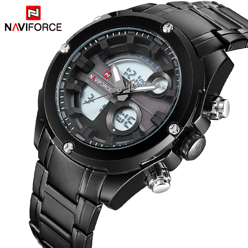 NAVIFORCE Luxury Brand Men Full Steel Sport Watches Men's Digital Quartz Analog Clock Man Military Wrist Watch Relogio Masculino weide casual genuine luxury brand quartz sport relogio digital masculino watch stainless steel analog men automatic alarm clock