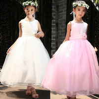 Enfant Long Evening Dress Girls Sleeveless Party Dresses Flower Waistband Kids One Piece Vestidos Infantil Para