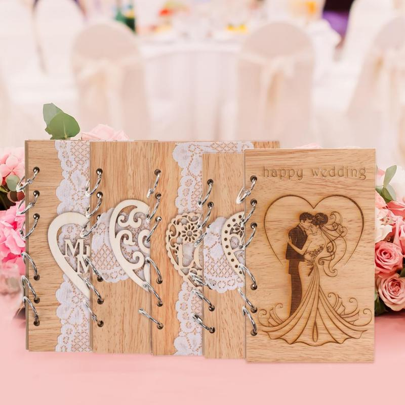 Wedding Guest Books Wooden Retro Hollow Lace Notebook Name Sign Board Gifts Wedding Guest Name Sign Board Wedding Message Book
