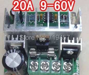 FREE SHIPPING 5PCS/LOT DC motor pump PWM stepless speed control governor 9V-60V 20A switch with high efficiency