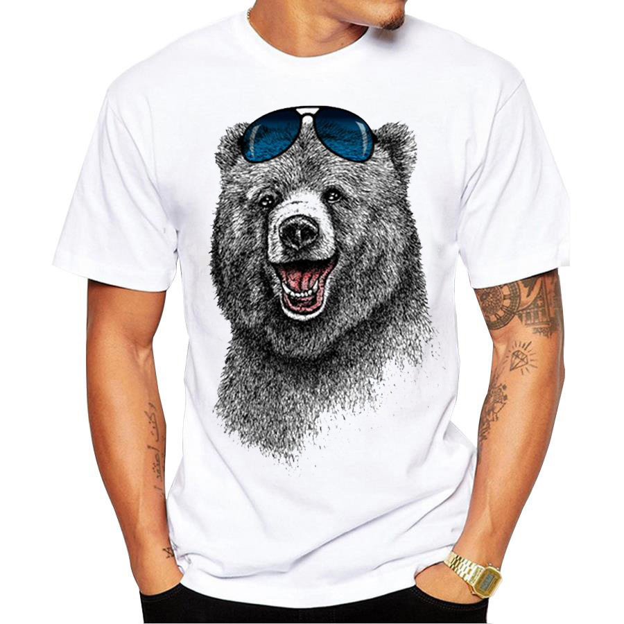 Design your own t shirt cheap uk - Men S Fashion Summer Russia Laughing Bear Design T Shirt Casual Male Tops Hipster Printed Own Style