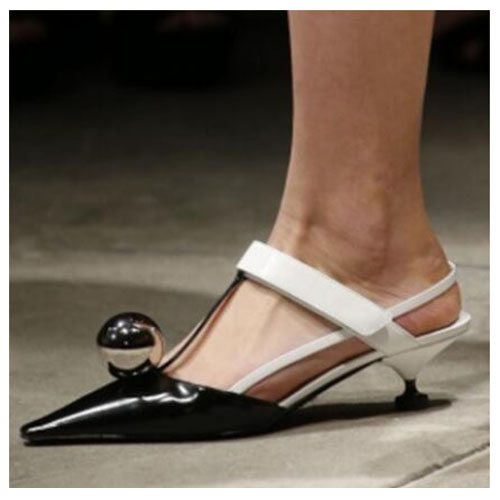 The Hottest 2017 Metal Ball Embellished Strange Style Heels Woman Runway Shoes Pointed Toe Mixed Color Woman Sandals Dress Shoes