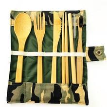 Кемпинг бамбука столовые приборы 8 штук столовые приборы из бамбука в комплект входят вилка ложка нож палочками Соломы Соломенная чистящая щетка, Зубная щётка