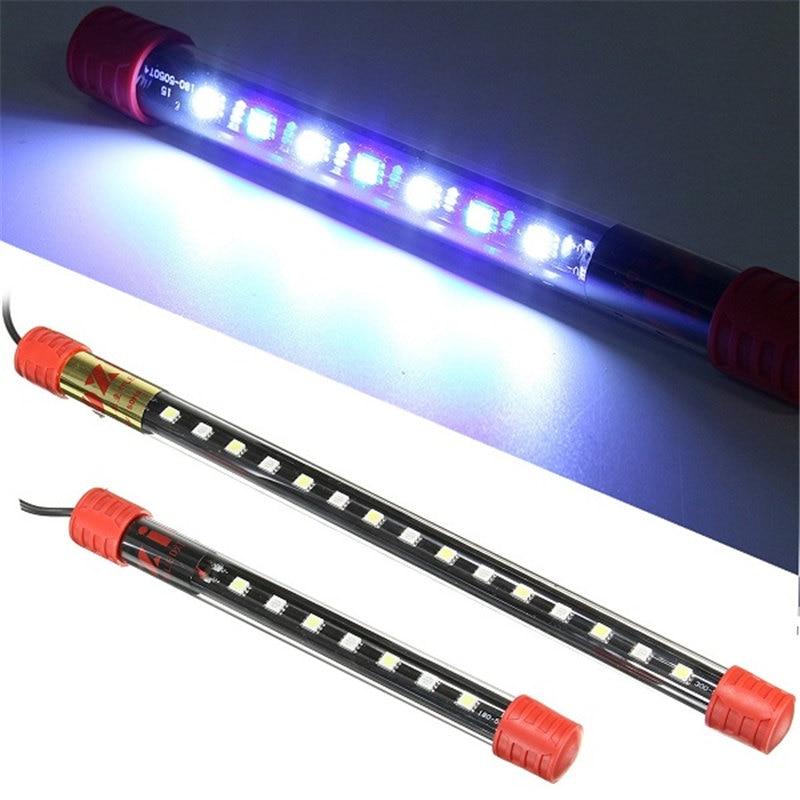 Submersible Aquarium Fish Tank Lamp LED Strip Bar Light Tube 1W/2.4W 18cm 30cm White + Blue Decor Lighting AC100-240V