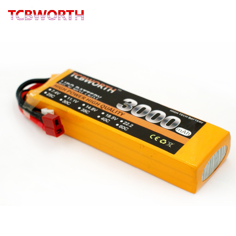 TCBWORTH 14.8V 3000mAh 40C-80C 4SRC Helicopter LiPo battery For RC Airplane Quadrotor Drone Truck AKKU Li-ion battery tcbworth rc drone lipo battery 7 4v 5000mah 35c 2s for rc airplane quadrotor helicopter akku car truck li ion battery