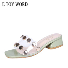 E TOY WORD women slippers Outdoor thick Heel Summer shoes Casual Comfortable Sandal Metal Rivets Transparent Sexy Slippers Women