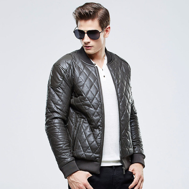 Free Shipping Men 2015 Brand Casual Quilted Bomber Jacket Fashion