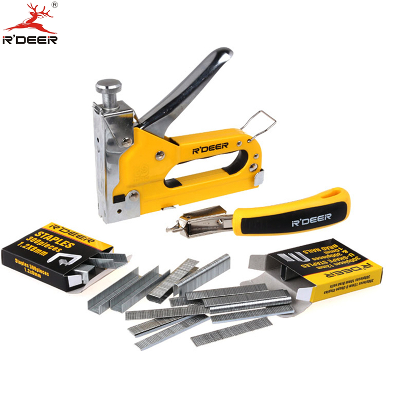 RDEER Nail Gun Tacker & Remover Set Three With Heavy Duty Rapid Upholstery Hand Staple Nail Tacker Stapler Gun Set Power Tools velvet платье до колена