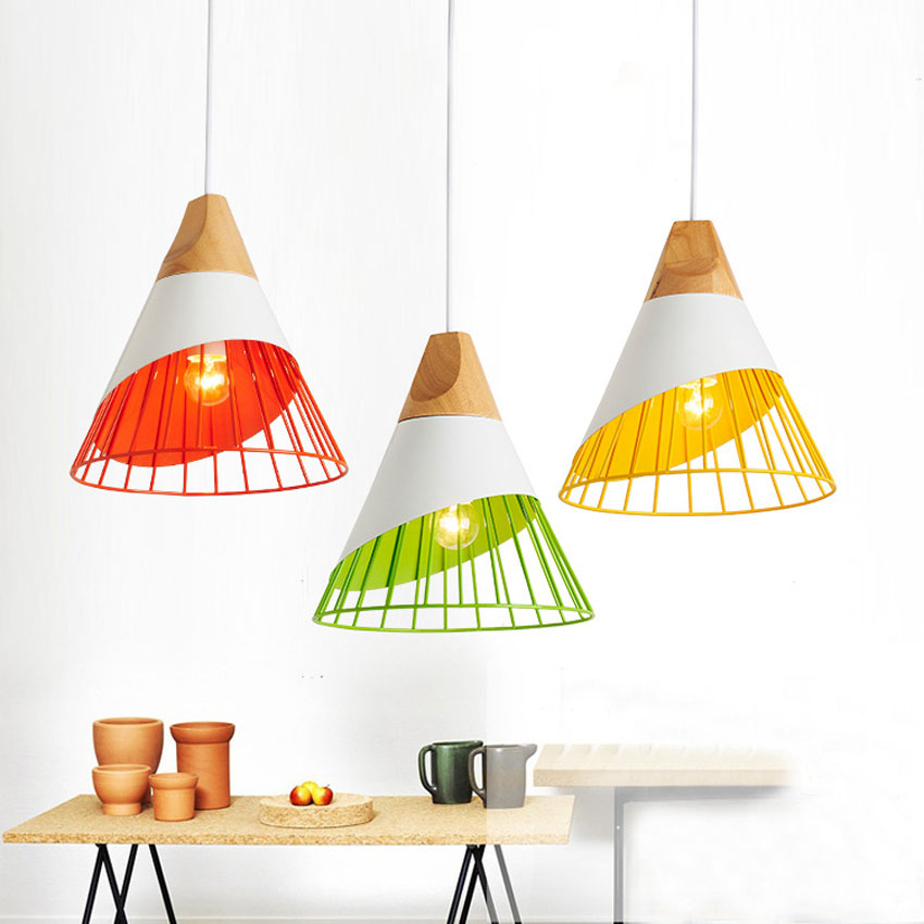 Nordic modern pendant lights wood+metal colorful hanging lamp for Kitchen cafe restaurant bar indoor lighting deco light fixture modern retro simple personality wooden wood cafe love bar restaurant heart shaped led hanging fixture pendant lights lamp