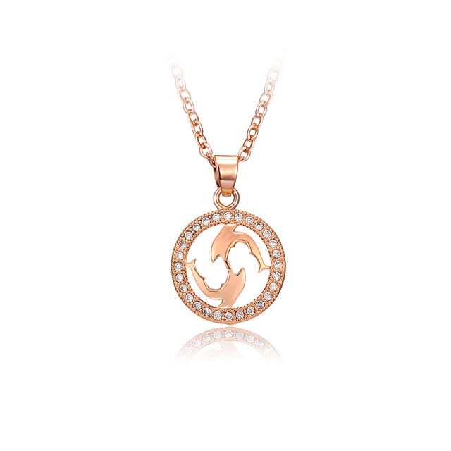 DROLE New Fashion Round Pendant Dolphin Shaped Choker Necklace for Women  Rose Gold Silver Jewelry Valentines Day Gift 1f2ebbb31f9d