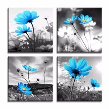 Canvas Printed Modular Pictures Decoration 4 Pieces Painting Wall Art Tulips Flower Modern Poster Home For Living Room Framework(China)