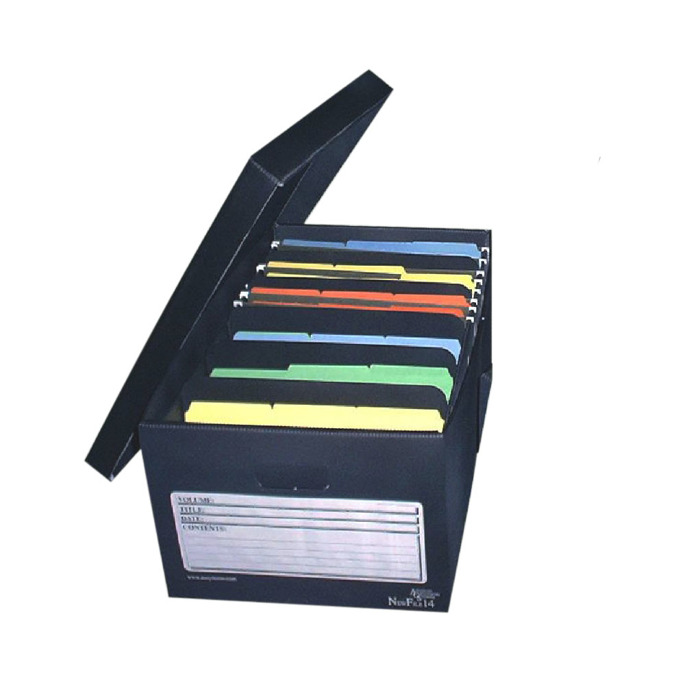 Advanced Organizing System NewFile14 Legal Size File Storage Box Plastic - Black end tab file pockets with cut away front corner legal 11 point manila 100 box sold as 1 box