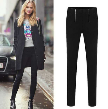 Europe Star Style High Street Double Zipper Pencil Pants